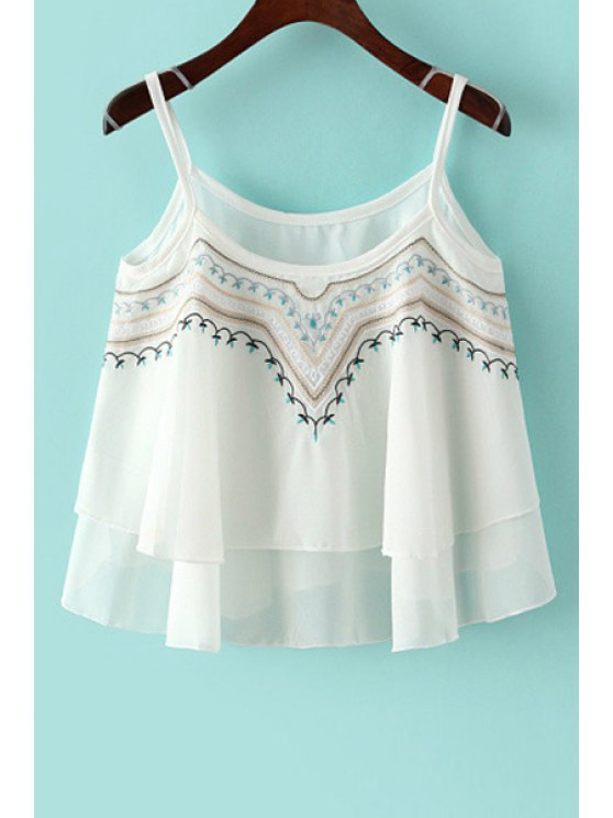 hot Spaghetti Strap Embroidery Chiffon Tank Top - WHITE ONE SIZE(FIT SIZE XS TO M)