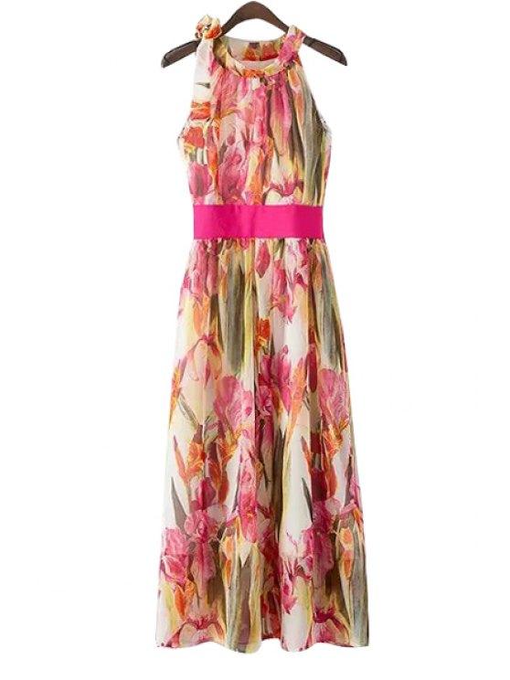 ladies Floral Print Off-The-Shoulder Tie-Up Dress - WATER RED S