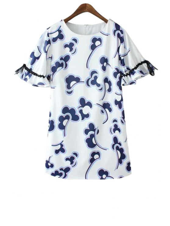 lady Blue Print Flounce Tie-Up Dress - BLUE AND WHITE S