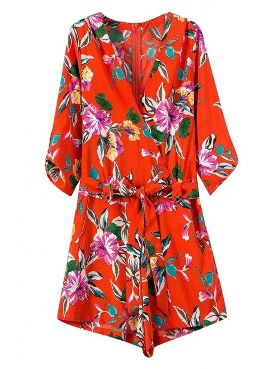 sale Floral Print Tie-Up V-Neck Romper - RED S