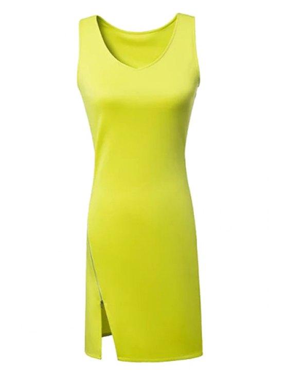 womens Solid Color Side Zipper Slit Dress - BLUISH YELLOW S