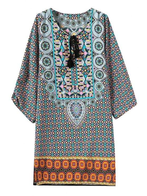 hot Argyle Print Side Slit 3/4 Sleeve Dress - COLORMIX S