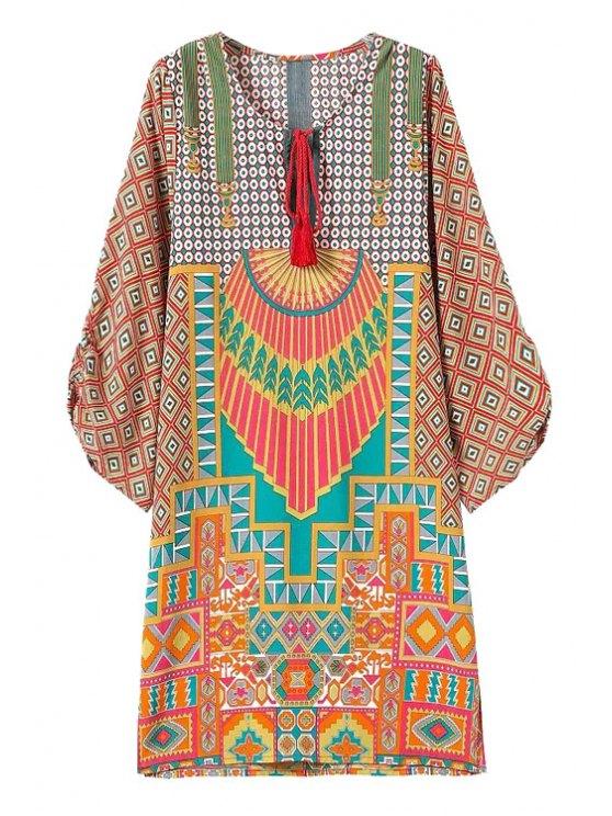 ladies V-Neck Geometric Pattern 3/4 Sleeve Dress - COLORMIX S