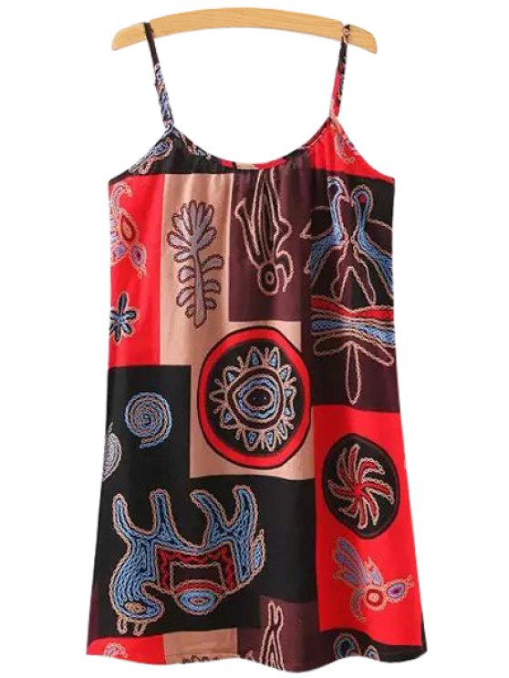 hot Print Straight Spaghetti Straps Dress - COLORMIX ONE SIZE(FIT SIZE XS TO M)
