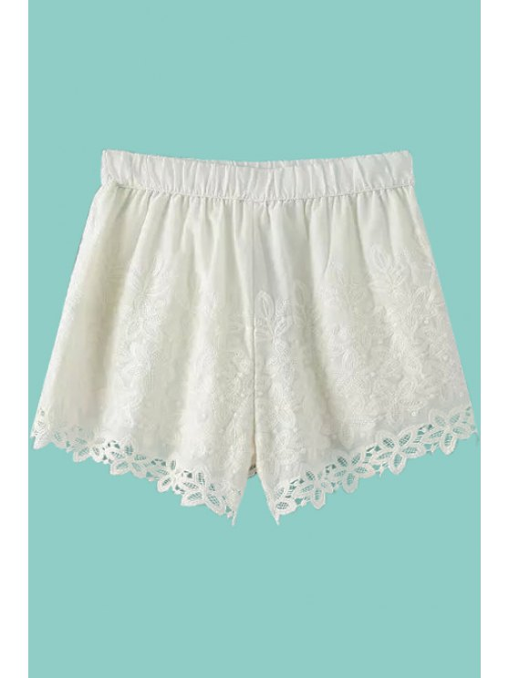 outfits White Lace Elastic Waisted Shorts - WHITE S