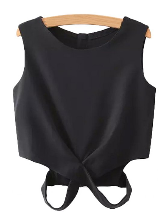 best Solid Color Cut Out Tank Top - BLACK S
