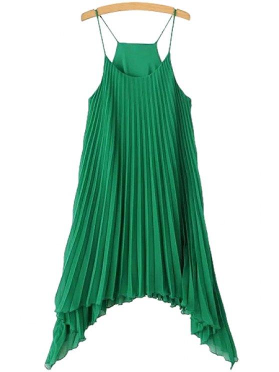 unique Solid Color Pleated Spaghetti Straps Dress - GREEN S