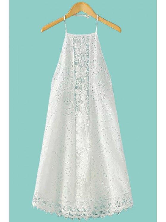 shop White Lace Hollow Halter Dress - WHITE S