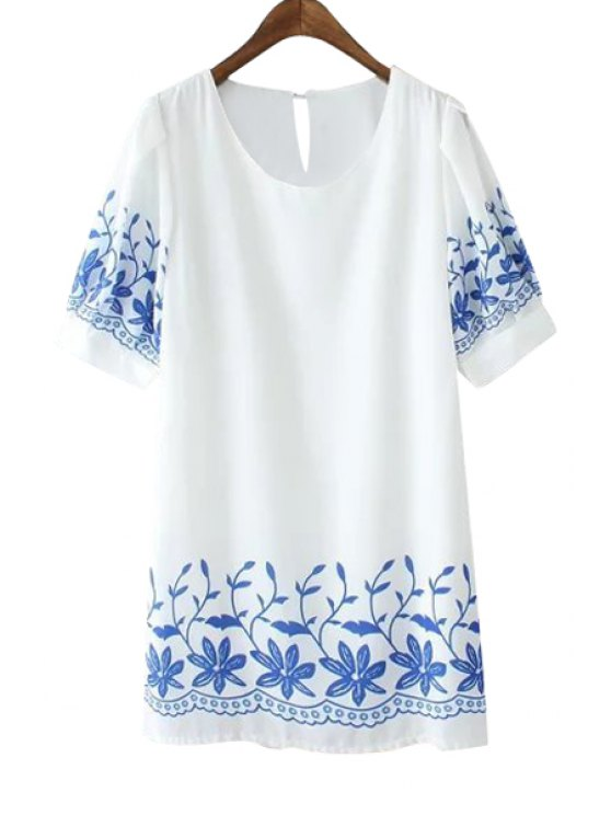 online Jewel Neck Short Sleeve Floral Print Dress - WHITE ONE SIZE(FIT SIZE XS TO M)