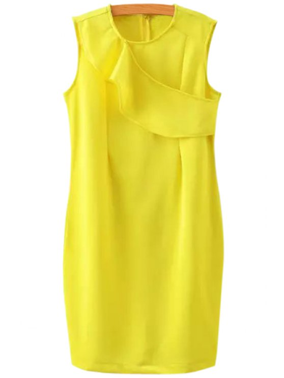 trendy Yellow Jewel Neck Sundress - YELLOW S