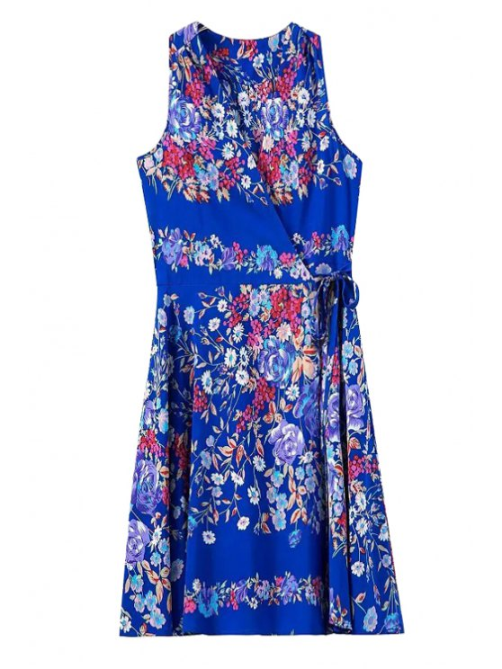 buy Colorful Floral Print Tie-Up Sleeveless Dress - BLUE S