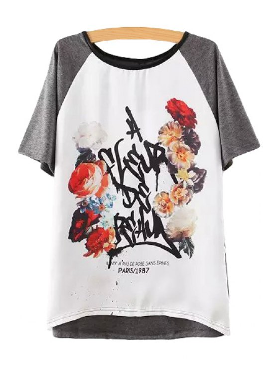fashion Floral Color Block Short Sleeve T-Shirt - GRAY S