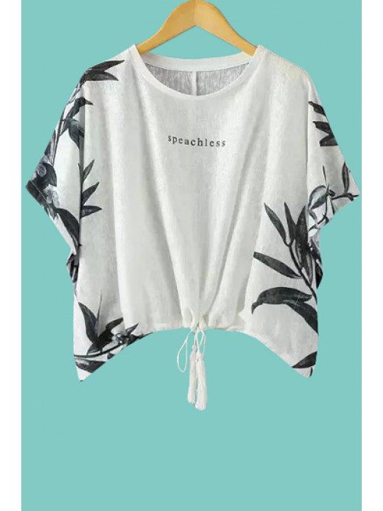 unique Leaf Print Short Sleeves T-Shirt - WHITE S