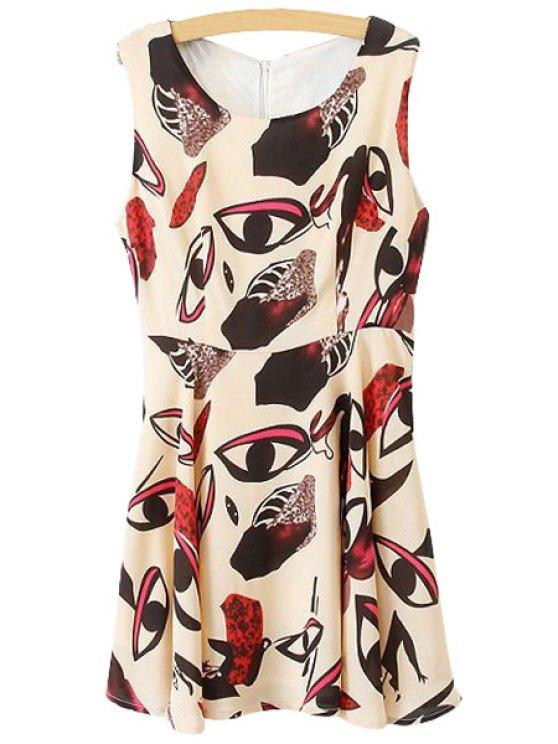 shops Eye Print A-Line Sundress - APRICOT S