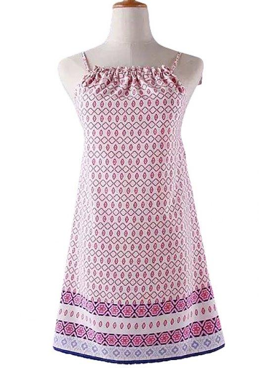 latest Pink Print Spaghetti Straps Dress - PINK L
