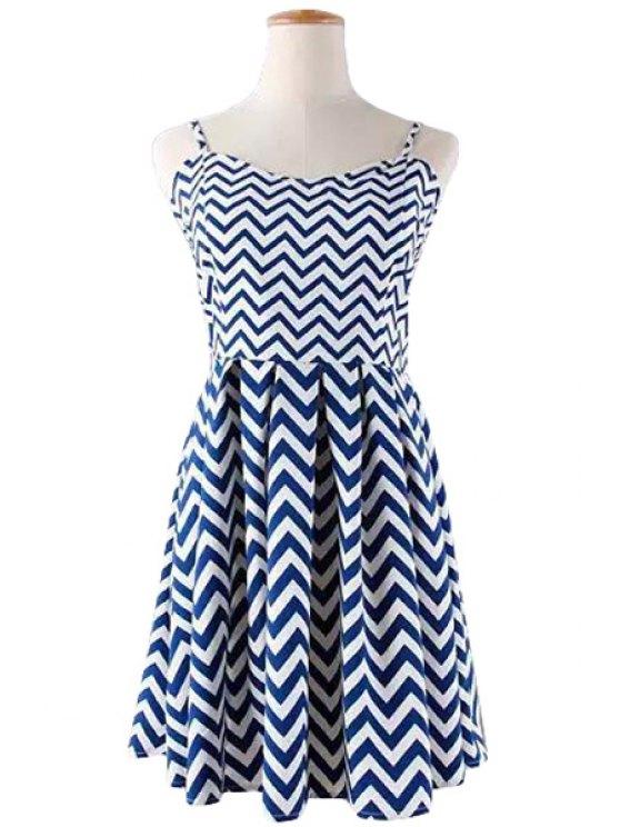 unique Stripe A-Line Spaghetti Straps Dress - BLUE M