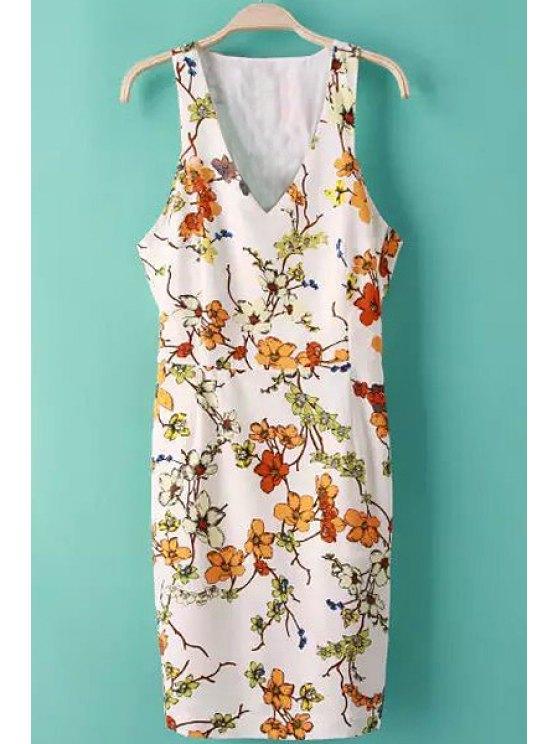 trendy Plunging Neck Sleeveless Floral Dress - JACINTH S