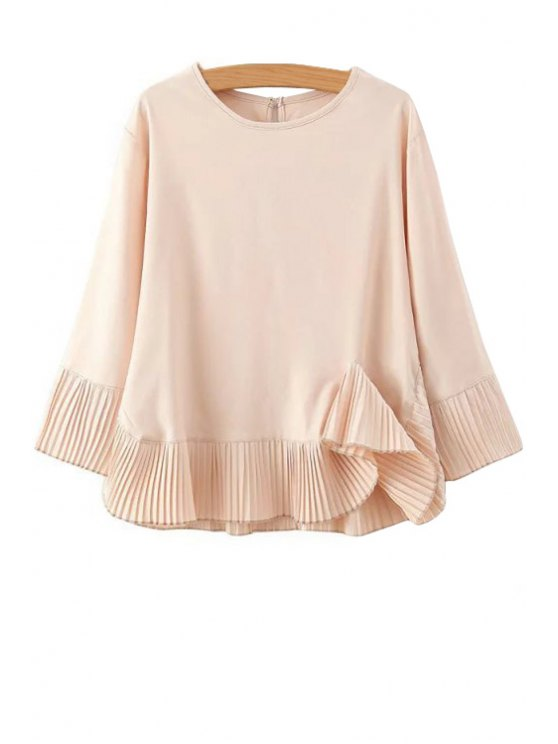 outfits Pleated Ruffles Long Sleeve Blouse - PINK S