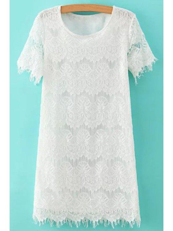 ladies Lace White Short Sleeve Dress - WHITE S