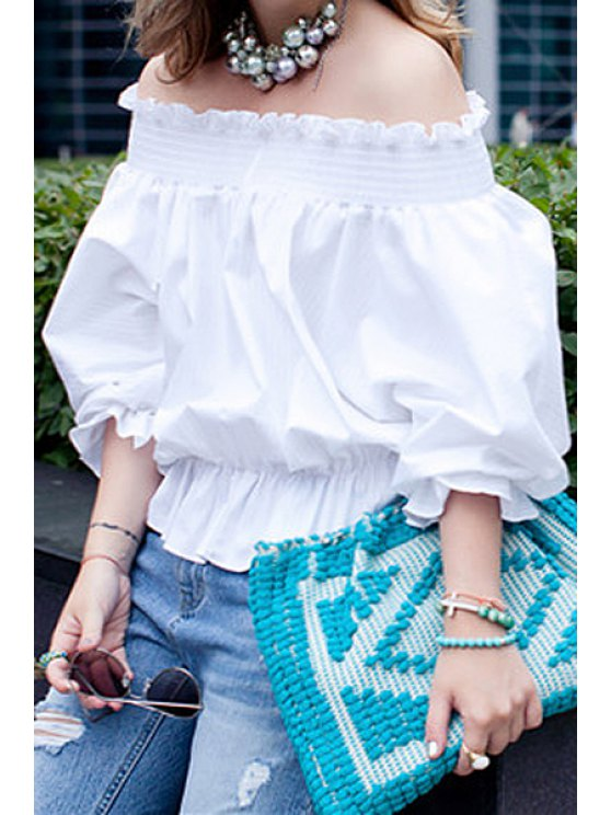 fancy White Off The Shoulder Bow Back Blouse - WHITE L