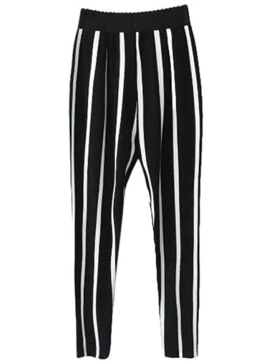women's Stripe Elastic Waisted Harem Pants - WHITE AND BLACK S