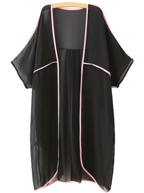 unique Color Block Chiffon 3/4 Sleeve Blouse - BLACK ONE SIZE(FIT SIZE XS TO M)