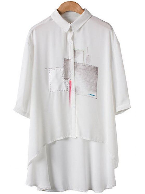 ladies Patch Pattern Asymmetrical 3/4 Sleeve Shirt - WHITE S