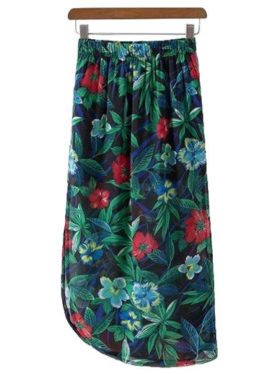 fashion Full Floral Print Chiffon Skirt - BLACKISH GREEN M