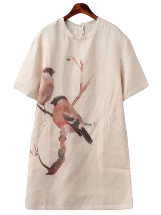 fashion Bird Print Linen Short Sleeve Dress - APRICOT S