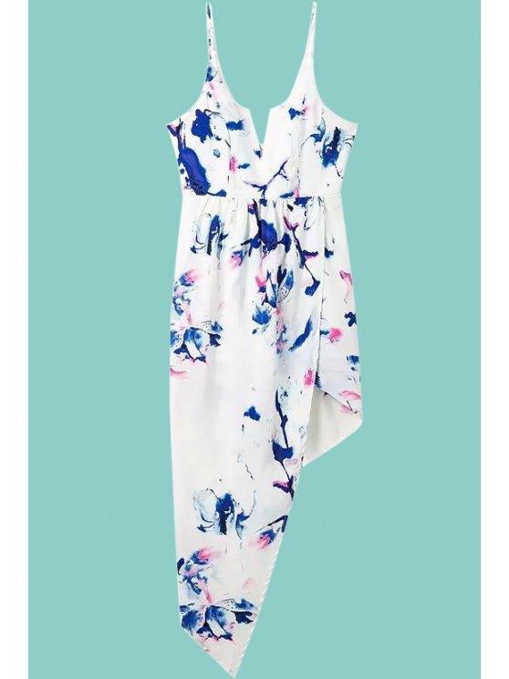 buy Print Irregular Hem Spaghetti Straps Dress - PURPLISH BLUE S