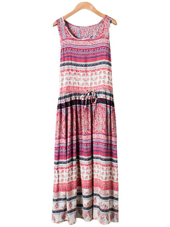 affordable Colorful Stripe Print Tie-Up Maxi Dress - WATERMELON RED M