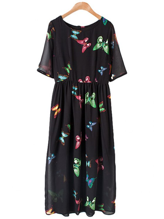 unique Jewel Neck Colorful Butterfly Print Dress - BLACK M