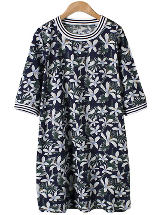 best White Floral Print Stripe Half Sleeve Dress - COLORMIX ONE SIZE(FIT SIZE XS TO M)