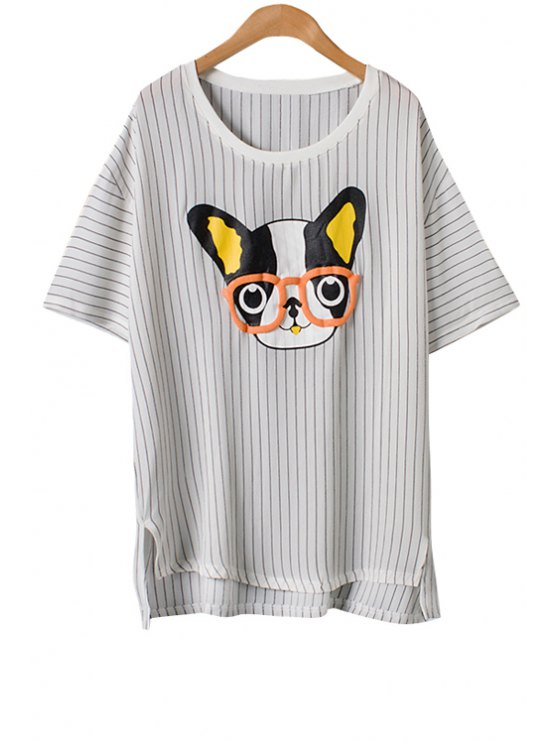 new Puppy Print Stripe Short Sleeve T-Shirt - WHITE ONE SIZE(FIT SIZE XS TO M)