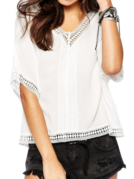 chic White With Lace Short Sleeve Blouse - WHITE M