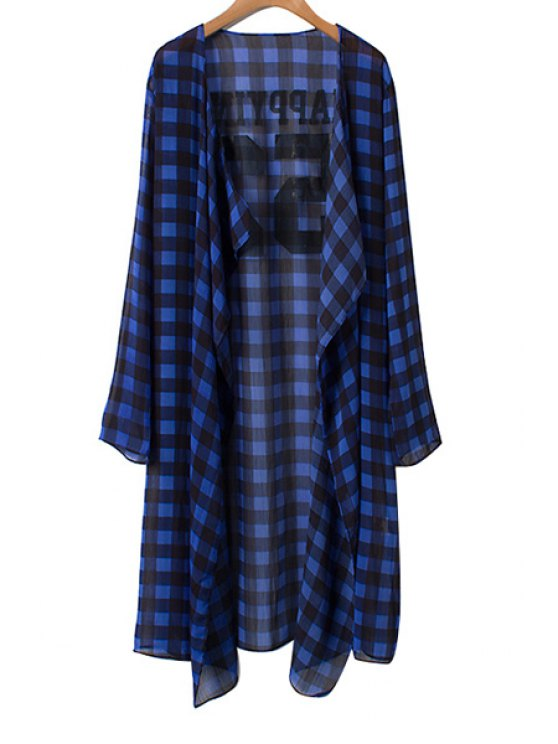online Collarless Plaid Long Sleeve Blouse - BLUE AND BLACK M