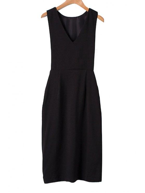 online Solid Color Slit Sleeveless Dress - BLACK S
