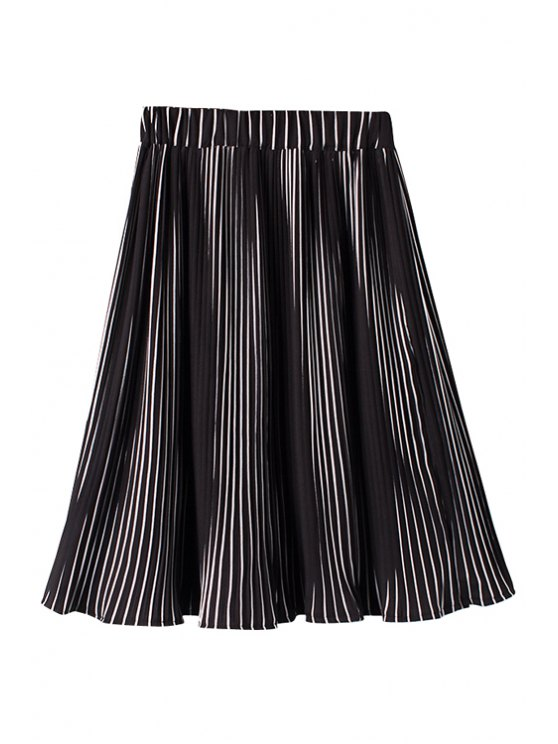 shops White Stripe Elastic Waist Pleated Skirt - WHITE AND BLACK ONE SIZE(FIT SIZE XS TO M)
