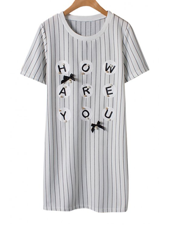 unique Stripe Letter Print Bowknot Faux Pearl Dress - WHITE S