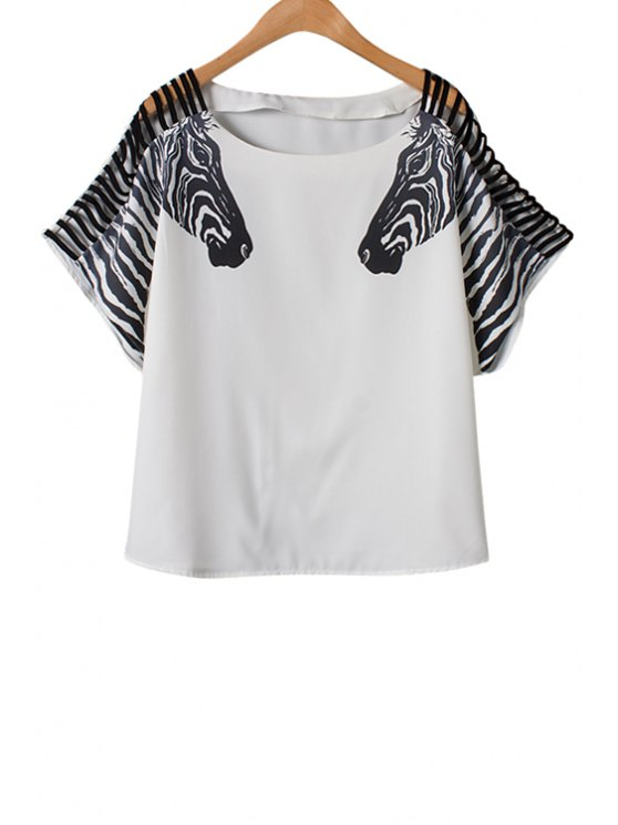 outfit Zebra Print Openwork Short Sleeve T-Shirt - WHITE S