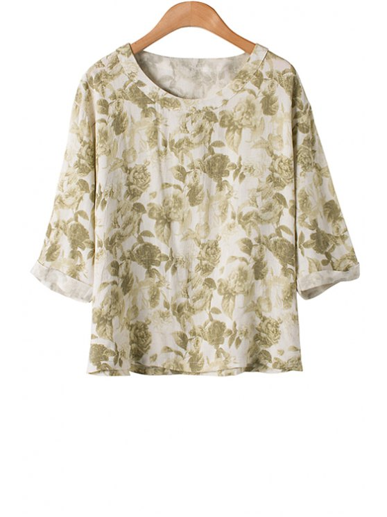 fashion Jewel Neck Floral Print Half Sleeve T-Shirt - GREEN ONE SIZE(FIT SIZE XS TO M)