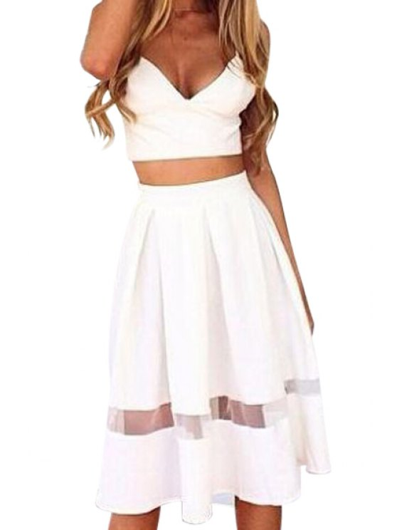 lady Crop Top and Voile Spliced Skirt Suit - WHITE S