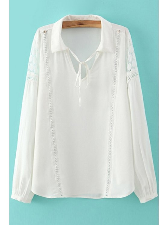 chic White with Lace Long Sleeve Shirt - WHITE S