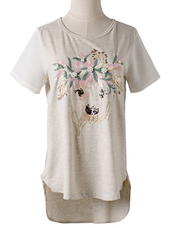 best Fawn Pattern Sequin Faux Pearl Asymmetrical T-Shirt - GRAY M