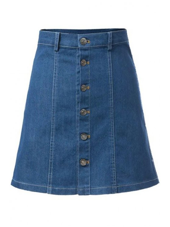 outfit Solid Color Denim Single-Breasted Skirt - BLUE S