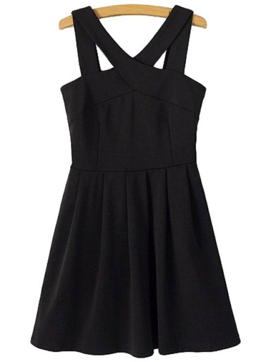 sale Solid Color V-Neck Sleeveless Dress - BLACK S