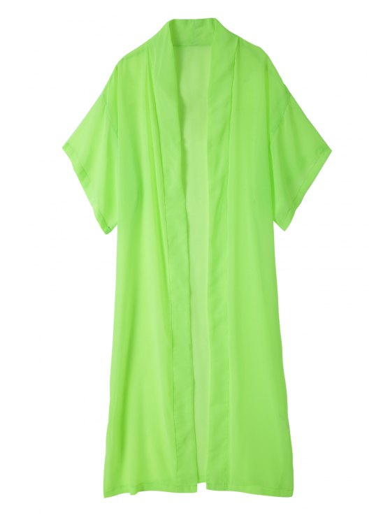 shops Solid Color Duster Coat - GREEN XS