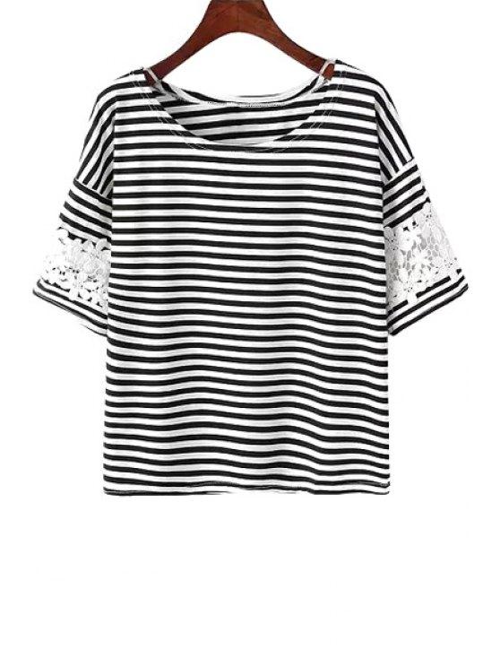 chic Stripe Crochet Flower Spliced T-Shirt - STRIPE ONE SIZE(FIT SIZE XS TO M)
