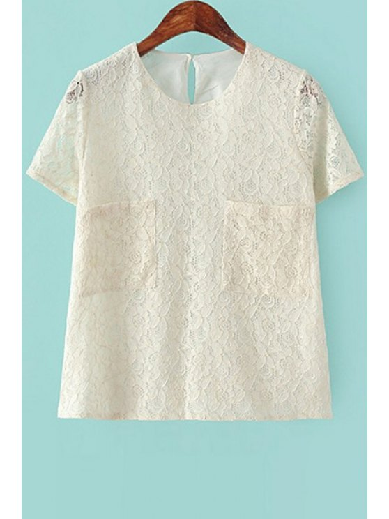 lady Lace Short Sleeve Pocket T-Shirt - BEIGE S