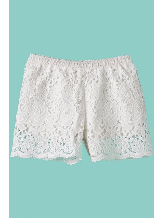 hot Floral Pattern Openwork Elastic Waist Shorts - WHITE ONE SIZE(FIT SIZE XS TO M)